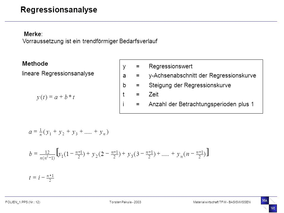 [ ] Regressionsanalyse Methode t b a y * ) ( + = ) ..... ( y a + = ) (